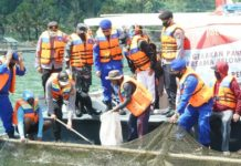 Wakapolres Bangli Dampingi  Wakapolda Bali Panen Raya Ikan di Kintamani