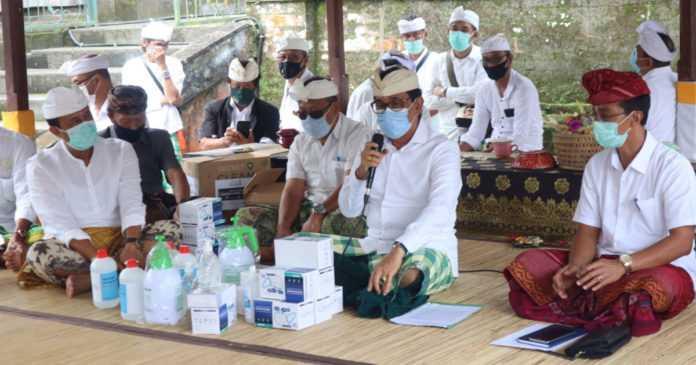 Piodalan Pura Pucak Mangu Tinggan, Dilaksanakan Sehari dengan Prokes Ketat